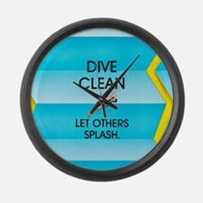 Dive Clean Large Wall Clock