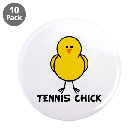 """Tennis Chick 3.5"""" Button (10 pack)"""