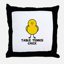 Table Tennis Chick Throw Pillow
