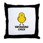 Swimming Chick Throw Pillow