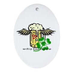 Beer with wings Oval Ornament