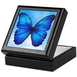 Blue butterfly Square Keepsake Boxes