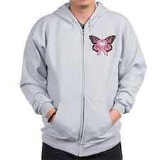 Pink Ribbon Butterfly Zip Hoodie