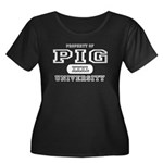 Pig University Women's Plus Size Scoop Neck Dark T