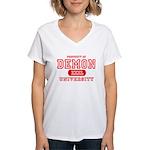 Demon University Halloween Women's V-Neck T-Shirt