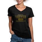 Coffee University Women's V-Neck Dark T-Shirt