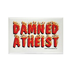 Damned Atheist Rectangle Magnet