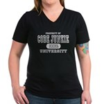 Code Junkie University Women's V-Neck Dark T-Shirt