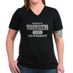 Woodworking University Women's V-Neck Dark T-Shirt