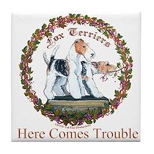 Fox Terrier Trouble Tile Coaster