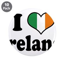 "I Love Ireland Tricolor 3.5"" Button (10 pack)"