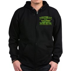 Irish You Were Beer Shamrock Zip Hoodie (dark)