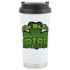 Kiss Me I'm Irish Shamrock Travel Mug