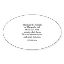NUMBERS 26:34 Oval Decal