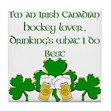 Irish Canadian Hockey Lover Tile Coaster