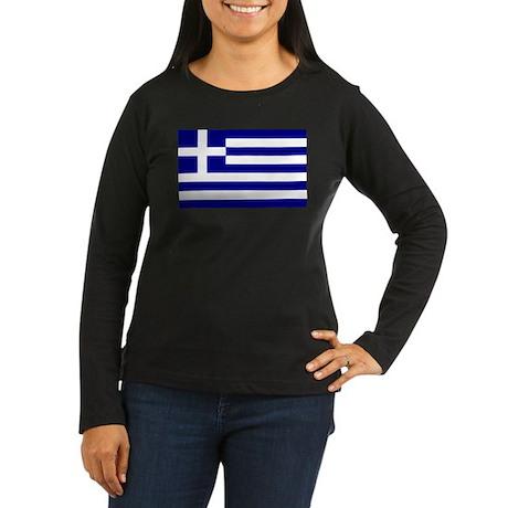 Greece Flag Women's Long Sleeve Dark T-Shirt