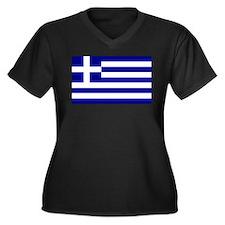 Greece Flag Women's Plus Size V-Neck Dark T-Shirt