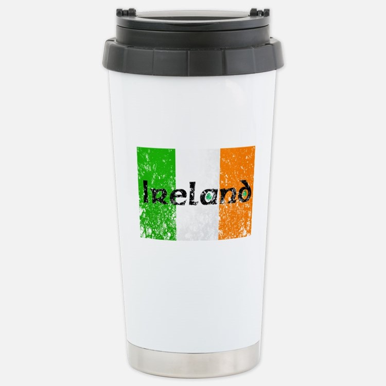 Ireland Flag Distressed Look Travel Mug
