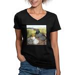 Trumpeter Pigeon Pair Women's V-Neck Dark T-Shirt