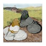 Trumpeter Pigeon Pair Tile Coaster