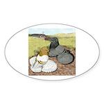 Trumpeter Pigeon Pair Oval Sticker (10 pk)