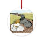 Trumpeter Pigeon Pair Ornament (Round)