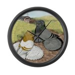 Trumpeter Pigeon Pair Large Wall Clock