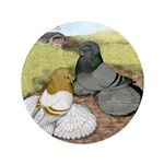 "Trumpeter Pigeon Pair 3.5"" Button"
