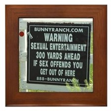 Bunny Ranch Sex Warning Sign Framed Tile