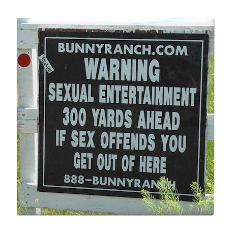 Bunny Ranch Sex Warning Sign Tile Coaster