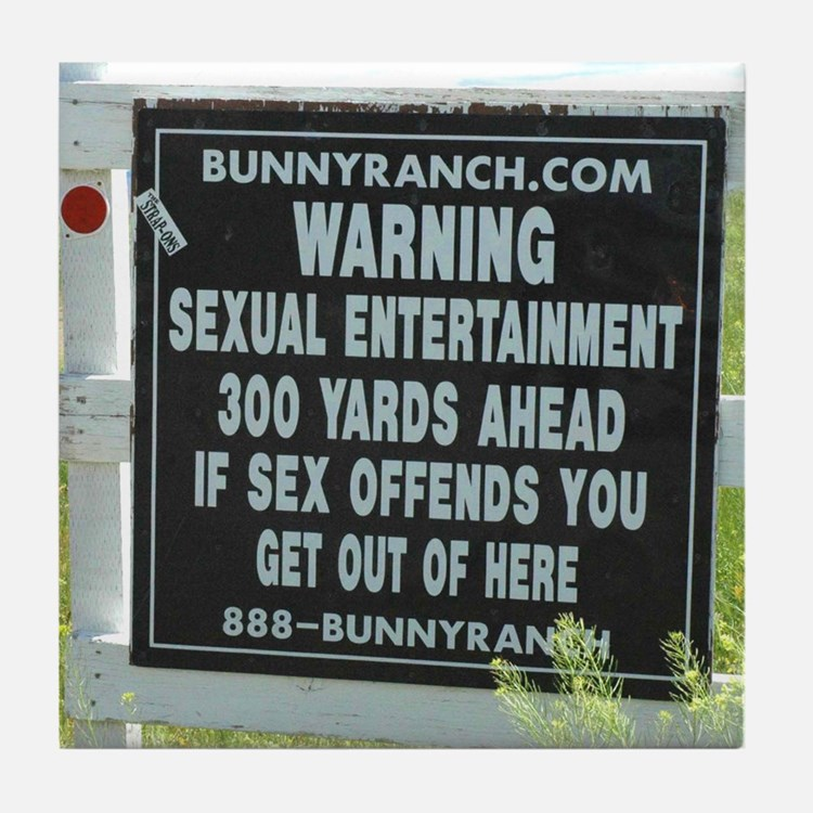 Bunny Ranch Sex Warning Sign Tile Coaster