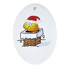Santa Brain Chimney Oval Ornament
