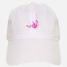 PINK SWIRLLY FLOWERS Baseball Baseball Cap