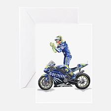 Racing Motorcycle & Rider #1 Greeting Cards (P