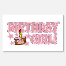 Birthday Girl 21 Rectangle Decal