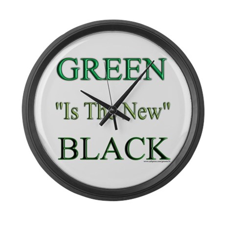 Green The New Black Large Wall Clock