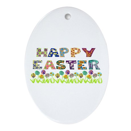 Happy Easter Egg Flowers Oval Ornament