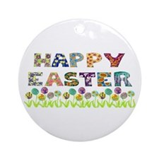Happy Easter Egg Flowers Ornament (Round)
