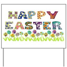 Happy Easter Egg Flowers Yard Sign