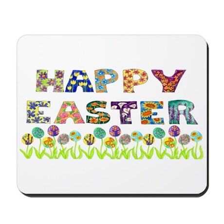 Happy Easter Egg Flowers Mousepad