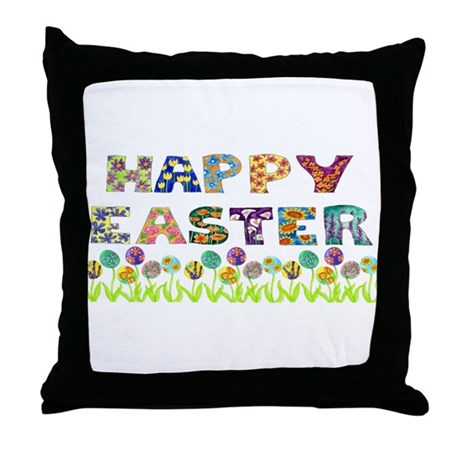 Happy Easter Egg Flowers Throw Pillow