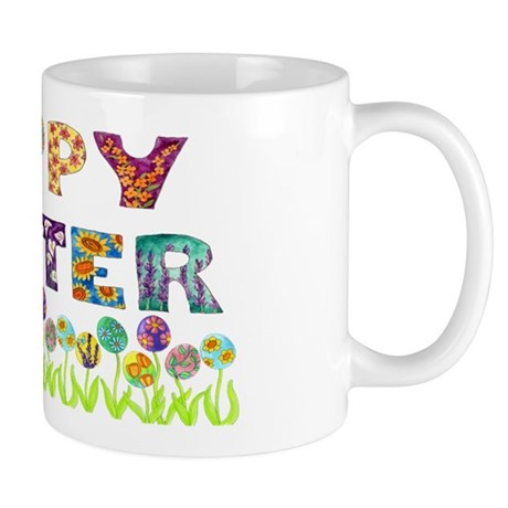 Happy Easter Egg Flowers Mug