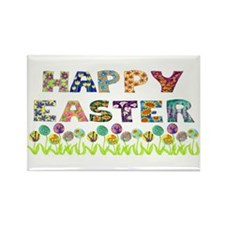 Happy Easter Egg Flowers Rectangle Magnet