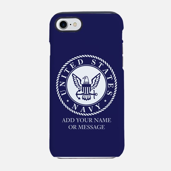 PERSONALIZED US Navy Blue White iPhone 7 Tough Cas