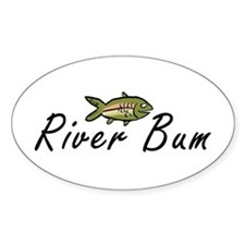 River Bum Trout Oval Decal