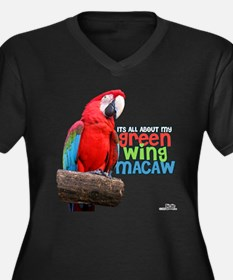 Green Wing Macaw Women's Plus Size V-Neck Dark T-S