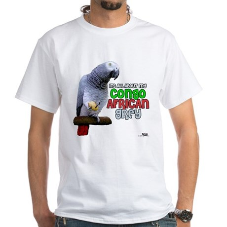 Congo African Grey White T-Shirt