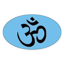 om blue yoga Oval Decal