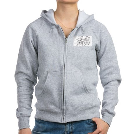 Bicycle Anatomy Women's Zip Hoodie