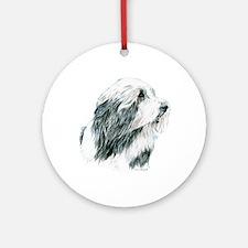 Grey Bearded Collie Beardie Ornament (Round)